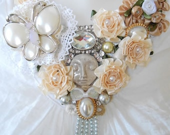 Shabby Chic and rhinestone bib necklace.