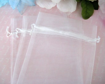 """5"""" x 6.5"""" White Organza Bags for Wedding Favor Bags, Party Favors bags, Gift Bags, Sachets, Anniversary Favor Bags, Jewelry Bags, 12 pieces"""