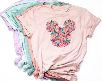 Watercolor Floral Mickey Shirt / Disney World t-shirt / Disneyland Tee / Mickey Ears / Roses / Disney Gifts / Shirts for Girls / Women