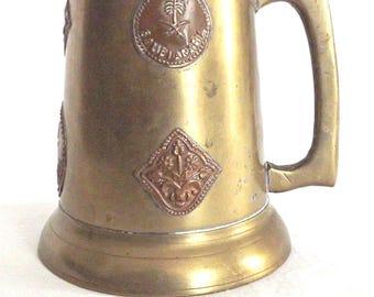 Brass Tankard with Copper Emblems, Vintage Brass Stein, Decorative Brass Tankard, Bar Ware, Retro Brass