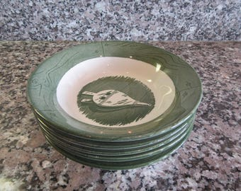 Colonial Homestead 4 fruit bowls green and white vintage china- Royal-nice condition
