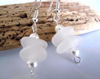 Wedding Earrings : Beach Glass - Dangle Earrings - Sea Glass - Beach Glass Jewelry - Bridal Sea Glass Earrings - Genuine Pure Sea Glass