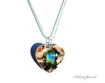 Protective Jewel,Orgon- heart, Orgon- Pendant, Labradorite + 18K Silver Plated Ball Necklace Chain