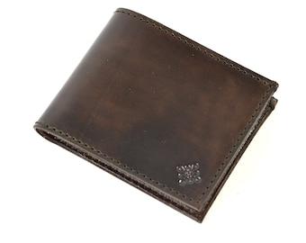 Black Leather Bi Fold Card Bill Wallet Handmade.