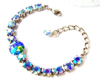 Blue rhinestone bracelet / Aurora Borealis / Tennis bracelet / gift for her / birthday gift / Swarovski crystal / Sapphire rhinestone / aqua