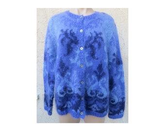 Vintage 1980's/1990's purple mohair wool arabesque hand knit cardigan sweater retro artisan