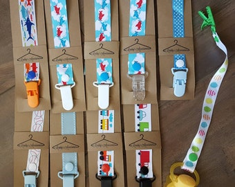 Handmade soother saver - ribbon pacifier clip - baby boy accessories