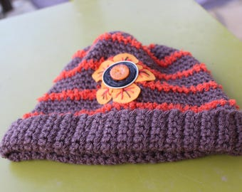 Brown beanie with orange stripes