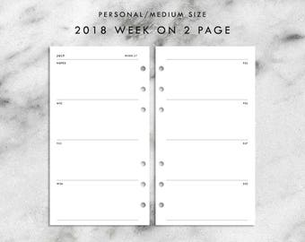 Personal Size Dated 2018 Week on 2 Pages Printable Planner Inserts
