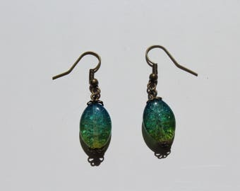 Green and blue dangling earrings