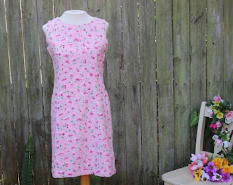 Pretty in Pink Dress | 90's Pink Floral Mod Cotton Sundress- S