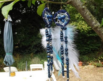 """feathered earrings """"dreamcatcher blue h 10 / 15cm"""""""