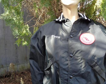 Vintage 1980s Pla Jac by Dunbrooke Black Nylon bomber jacket made in USA size 40 M 42 by Jeansvintagecloset
