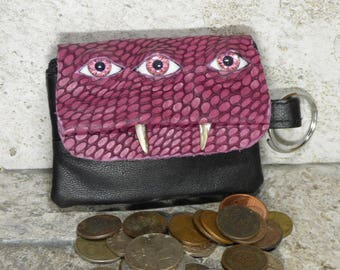 Coin Purse Zippered Change Purse Pink Black Leather Monster Face Pouch Key Ring Harry Potter Labyrinth 32