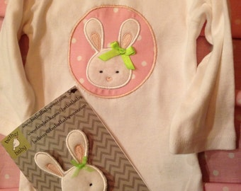 Boutique Spring Easter Bunny Bodysuit or T-Shirt with Bunny Hair Clip
