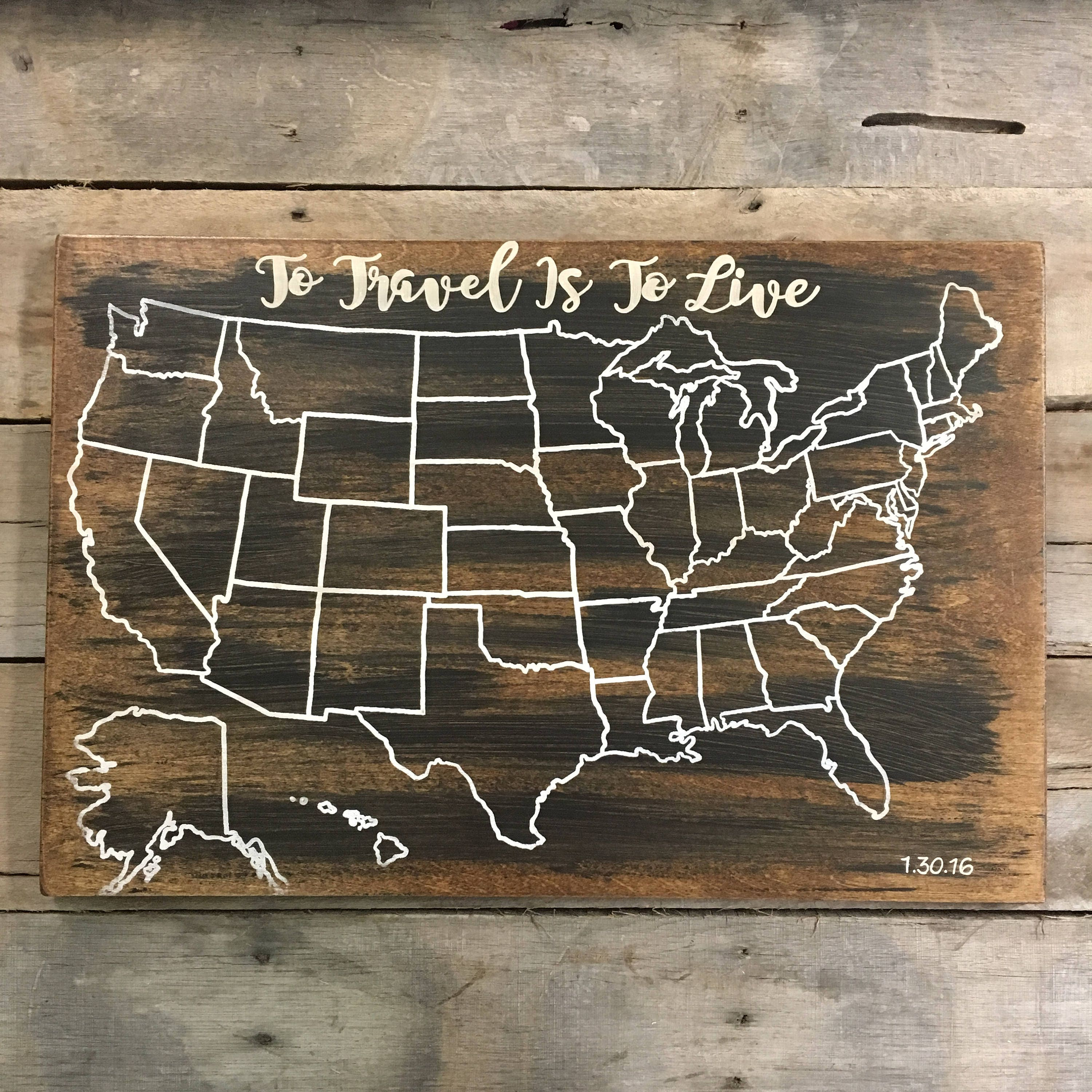 Travel Map US Wood Map USA Travel Map Personalized Pin