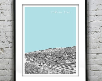 Joshua Tree Skyline Poster Art Print California CA