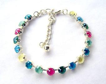 Rainbow pastel rhinestone bracelet / Swarovski crystal /  tennis bracelet / birthday gift / Easter gift / gift for her / unique bracelet
