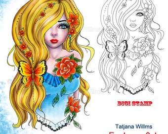 Blondy - Fantasy Coloring Sheet Digi Stamp Adult Coloring Girl. Blonde-Haired Woman Flowers Butterfly Beauty Portrait Instant Download!