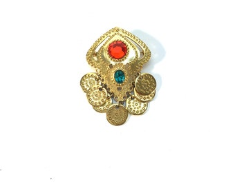 Vintage Gold Chandelier Brooch/Pin with Red and Green Stones