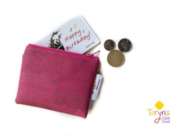 Pink Cork Essential Oil Case, Cork coin wallet, credit card wallet, Young living oils carrier, DoTerra oils bag, Essential oil travel case