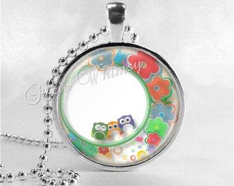 OWL Pendant Necklace, Owl Jewelry, Bird Necklace, Glass Art Pendant Charm, Bird Jewelry, Flower Necklace