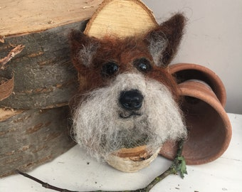 Needlefelted fox head hanger