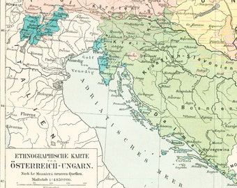 Austro Hungarian Empire map print European ethnicities  ethnographic map Slavic peoples 19th century map : Antique 1890s original lithograph