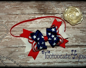 Babys First 4th of July Patriotic Boutique Hair Bow Headband Baby's first 4th of July patriotic boutique hair bow first 4th of July headband