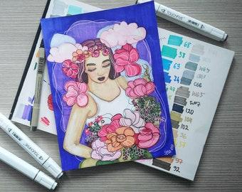 Jardin | Original Illustration | Botanical Bright Color Flowers Garden