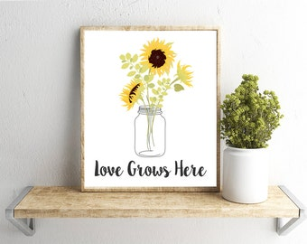 Printable Wall Art, Love Grows Here Quote, Home Decor, Instant Download