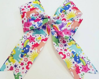 Unicorns,  Hearts, & Stars Colorful Handmade Bow