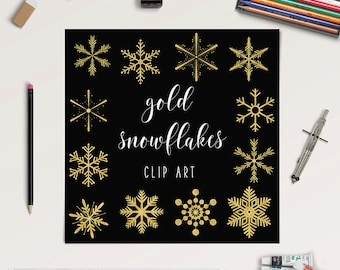 Gold Snowflakes Clipart, Sparkle Snowflakes, Golden Clip Art, Winter Graphic Elements, Coupon Code: BUY5FOR8