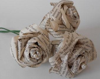 Set of 3 wedding Paper book flowers Pride and Prejudice
