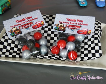 Disney Cars Lighting McQueen and Tow Mater Birthday Party Favor Cellophane Bag Topper Label