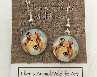 Collie earrings, Collie jewelry, Sheltie, pet earrings, dog earrings, pet jewelry, dog jewelry, animal earrings, animal jewelry,