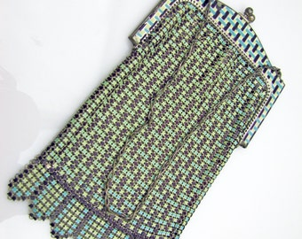 1920s Art Deco Silver Enamel Mesh Evening Purse. Whiting & Davis. Turquoise Mint Green And Brown Geometric Motif Pattern. Antique Handbags