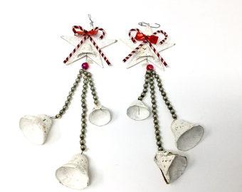 Vintage Christmas decorations ornaments paper mache mercury glass stars bells
