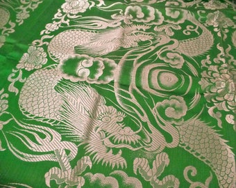 Antique Chinese Dragon Brocade Textile Yardage 100 x 88  Chinoiserie green asian DRAGONS fabric