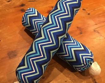 Plastic Bag Dispensers, Holders, Blue Chevron Stripe, Quality Hand Made, 50cm x 40cm