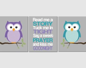 Purple Teal Plum Nursery Decor, Toddler Girl, Owls, Baby Girl Room Decor, Read Me A Story, Kids Wall Art, Set of 3, Prints or Canvas