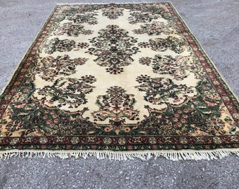 "Dance of the flowers on rug , 124""x 84"" ,area rug, flower rug , turkish rug , ousak rug , decoratıve rug"