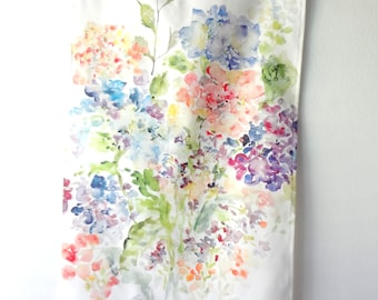 NEW! Hydrangeas Tea Towel, Watercolor Tea Towel, Watercolor Floral Tea Towel, Watercolor Hydrangeas