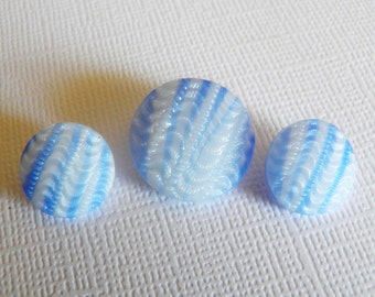 Vintage Wavy Blue Striped Glass Buttons