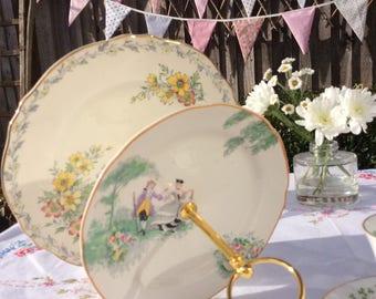 2 tier Vintage cake stand, French Crinoline Lady and gentleman, macaron stand, a unique cake stand for that special occasion