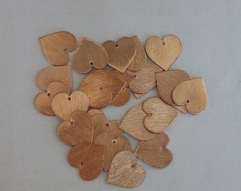 50% OFF 50 Pcs Copper Heart Charm Rose Gold Polish Plated On Copper - Scratch Finish Charm 17mm