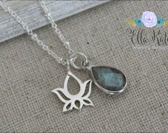 Last one - Tiny lotus necklace with grey bezel charm, Silver yoga charm necklace with labradorite stone, Yoga jewelry, Lotus flower jewelry