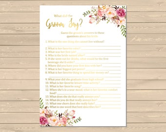 Gold Boho What Did the Groom Say Game, Printable Pink Floral Boho What Did the Groom Say Activity, Bohemian Game, Instant Download, 110-G