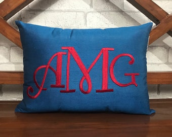 30% OFF Monogram Hand Embroidered pillow Personalized Valentine Housewarming Birthday Dorm Decor Wedding Baby Gift in all sizes and Colors