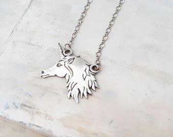 Unicorn Necklace Silver - Pure Silver Pendant, Unicorn Pendant Necklace, Unicorn Pendant